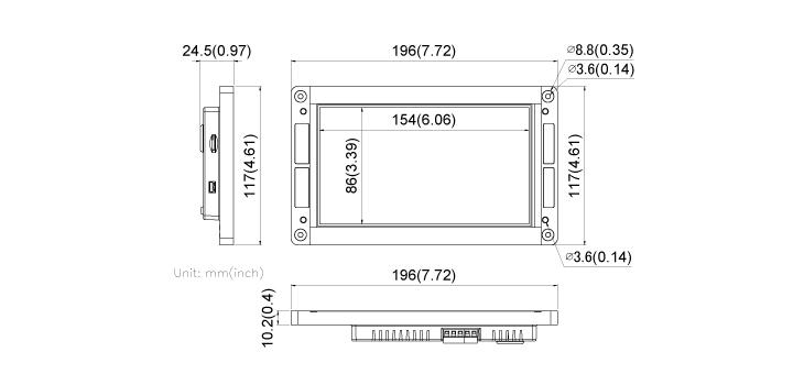 COMFILE HMI CHA-070PR Dimensions