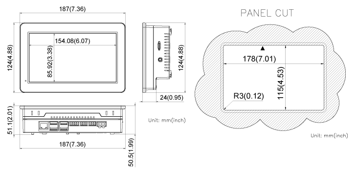 COMFILE Linux Panel PC CPiA070WR Dimensions