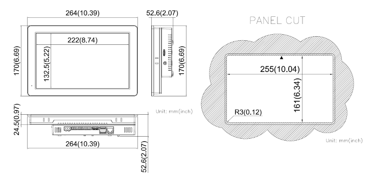 COMFILE Linux Panel PC CPiA102WR Dimensions