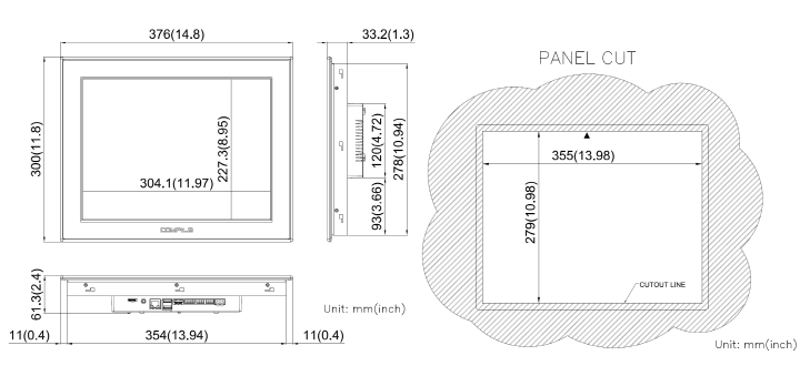 COMFILE Linux Panel PC CPiA150WR Dimensions